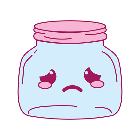 full color crying mason glass kawaii cartoon