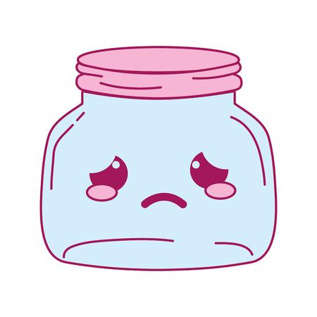 full color crying mason glass kawaii cartoon