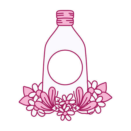 mason glass with sticker and flowers decoration vector illustration