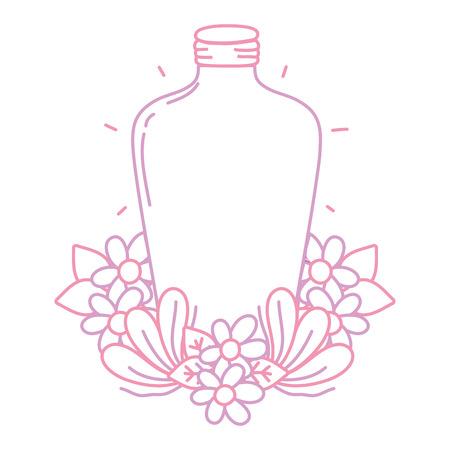 color line long mason jar with flowers and leaves vector illustration Ilustração