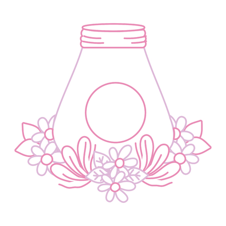Color line mason glass with leaves and flowers design vector illustration.