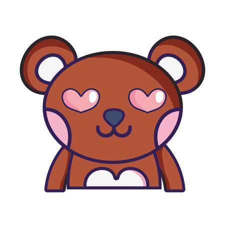 Enamored bear adorable wild animal. Vector illustration design. Иллюстрация
