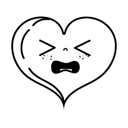 A line gaudy heart love kawaii cartoon vector illustration Ilustração