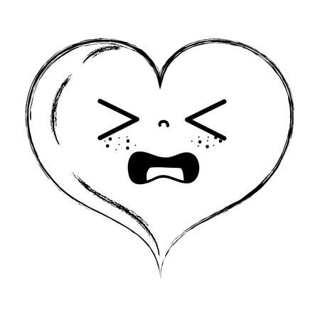 figure gaudy heart love  cartoon vector illustration Ilustração