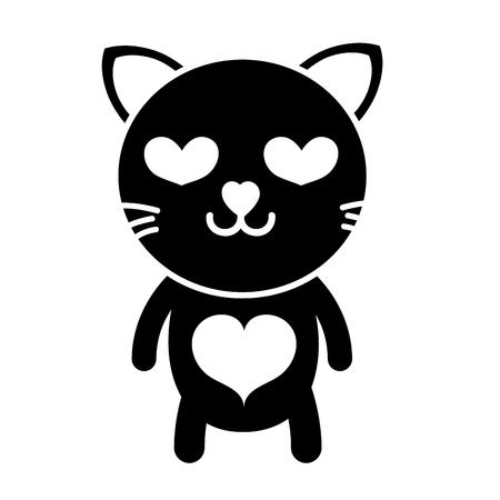 silhouette enamored cat cute feline animal vector illustration Иллюстрация