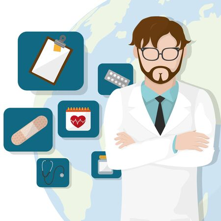 Doctor of medical health care and hospital theme Vector illustration