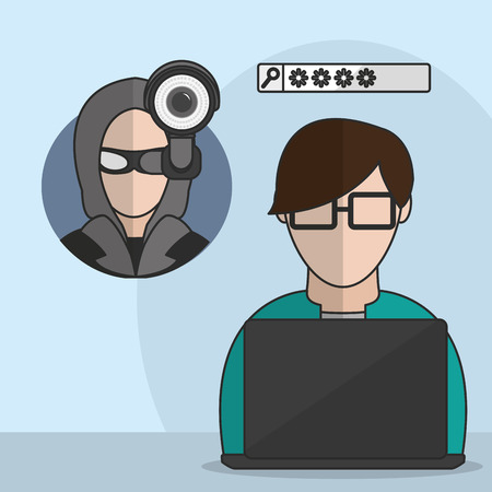 Hacker of security system technology and protection theme vector illustration.