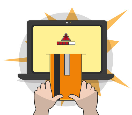 Laptop of security system technology and protection theme vector illustration.
