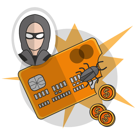 Hacker of security system technology and protection theme Vector illustration Иллюстрация