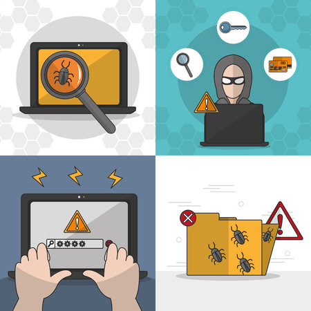 Icon set of security system technology and protection theme Vector illustration