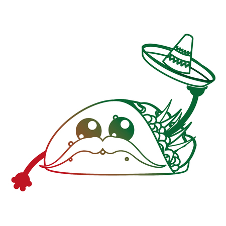 Burrito of Mexican food and traditional cuisine theme Isolated design Vector illustration.