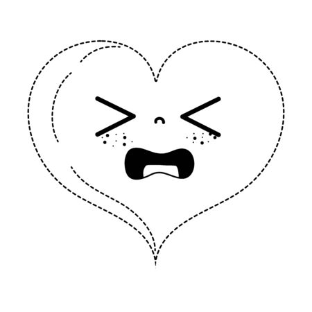 Dotted shape gaudy heart love kawaii cartoon vector illustration.
