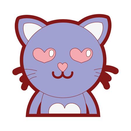 Line color enamored cat adorable feline animal vector illustration