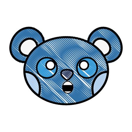 grated surprised bear head cute animal Иллюстрация
