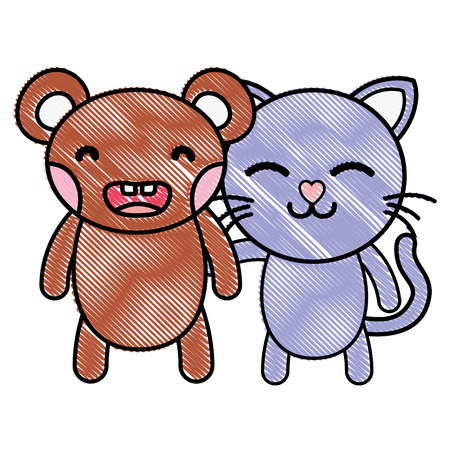 grated bear and cat cute animals friends