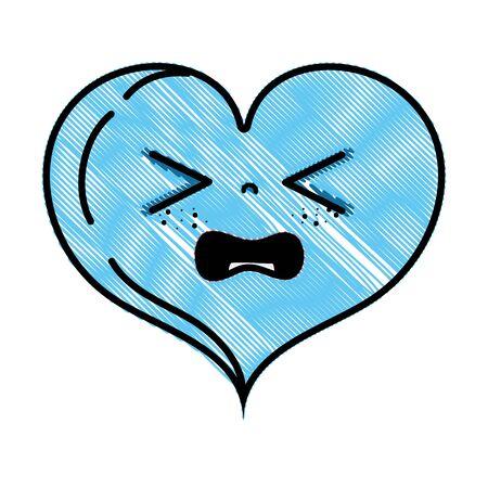 grated gaudy heart love  cartoon vector illustration Ilustração