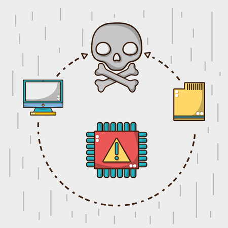 skull specter with warning chip alert vector illustration