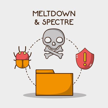 meltdown skull warning and spider alert vector illustration