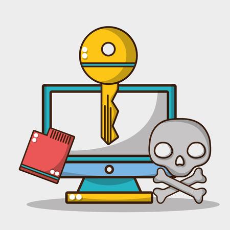 computer with key and skull meltdown vector illustration Illustration