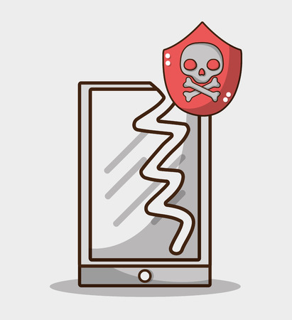 broken smartphone with warning skull virus vector illustration