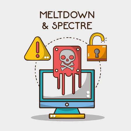 computer with skull virus and warning padlock vector illustration 向量圖像