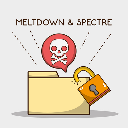 digital file with security padlock and skull vector illustration