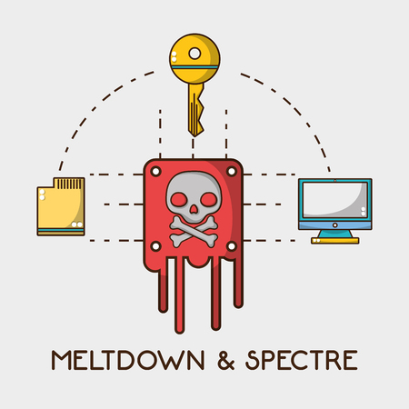 skull chip with computer technology and key vector illustration