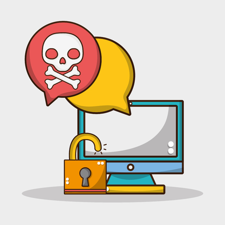 computer technology with security padlock and skull vector illustration