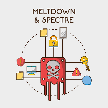 computer with warning spectre and meltdrown data vector illustration 向量圖像