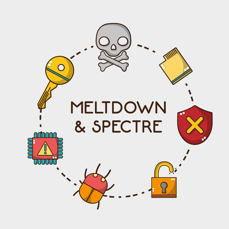 set spectre and meltdown technology virus vector illustration 向量圖像