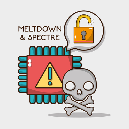 warning chip with skull and security padlock vector illustration 向量圖像