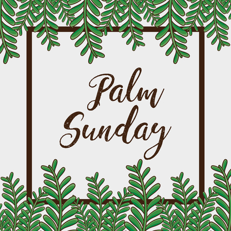 sunday palm branches religion background vector illustration