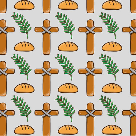 palm branches with cross and bread background vector illustration Ilustração
