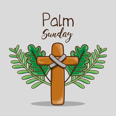 catholic cross and palm branches religion vector illustration