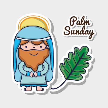 jesus with palm branch to traditional religion vector illustration