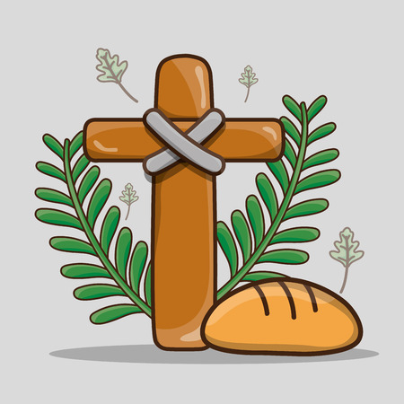 catholic cross with palm branches and bread Illustration