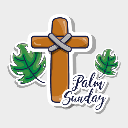 sunday palm branches with catholic cross vector illustration
