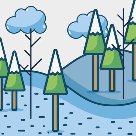 winter pine trees with clouds season vector illustration Illustration