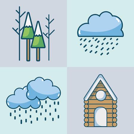 set winter season natural weather vector illustration  イラスト・ベクター素材