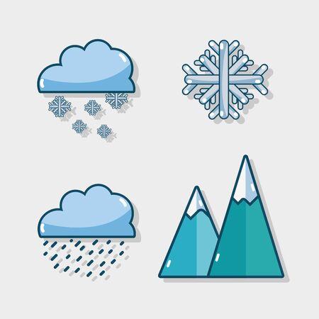 set winter natural weather season vector illustration Illustration
