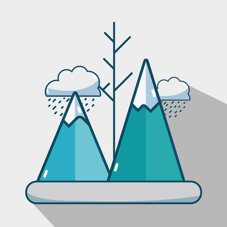 winter mountains with clouds raining season vector illustration