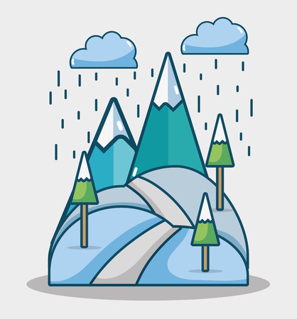 winter mountains with pine trees and clouds raining vector illustration Illustration