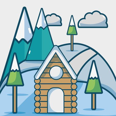 winter season with cabin and pine trees vector illustration Illustration