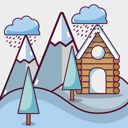 winter weather with pine trees and cabin vector illustration