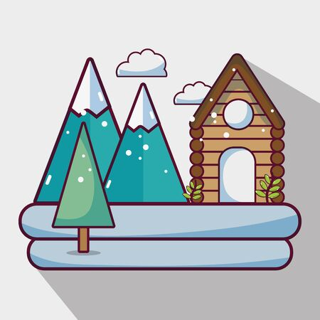 winter weather season with cabin and mountains vector illustration