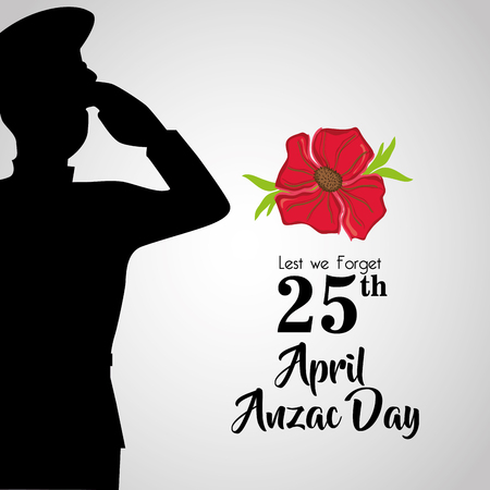 soldier with hat to anzac day memory vector illustration Vectores