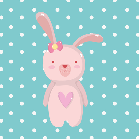 cute rabbit female to happy easter 일러스트