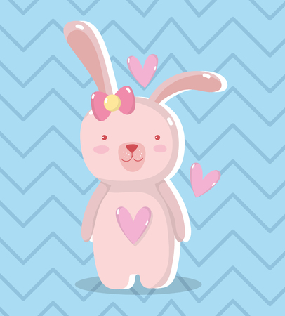 cute rabbit female with hearts design