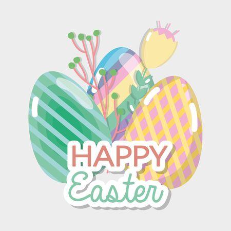 happy eggs easter celebration holiday Illustration