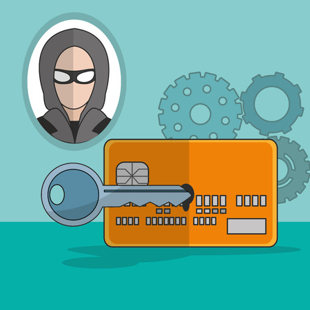 Hacker of security system technology and protection theme Vector illustration Illustration